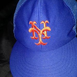 VTG 80s NY METS MLB BASEBALL TRUCKER HAT CAP BLUE